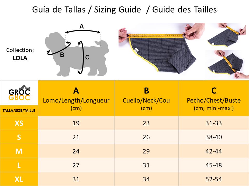 Sizes Guide for Lola Groc Groc