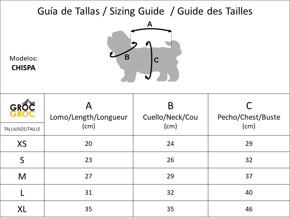 Groc Groc Chispa tallas tailles sizes